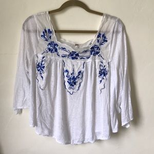PRETTY FREE PEOPLE Peasant Blouse